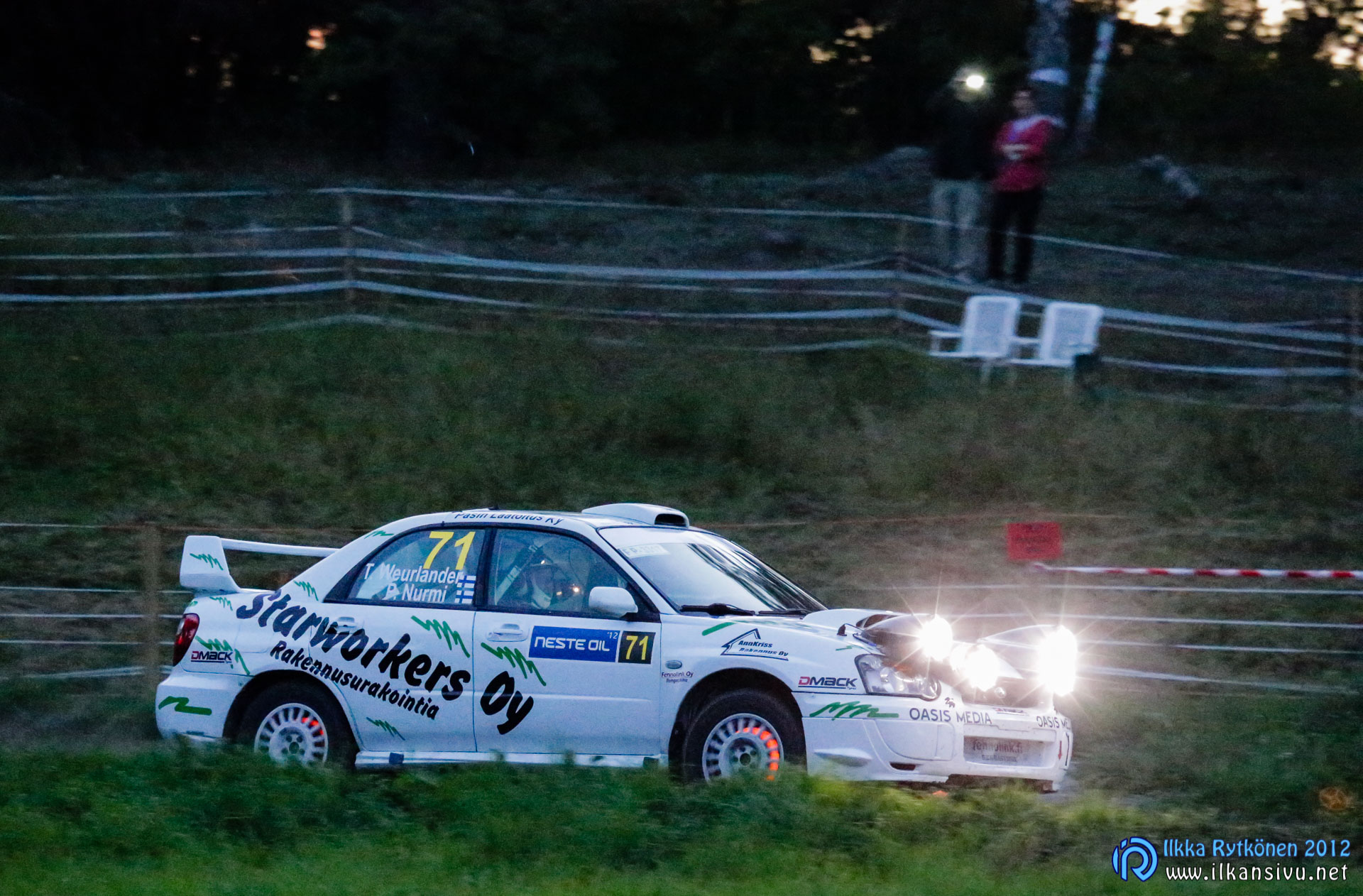 1/400 s, f/6,3, ISO 51200, 285 mm, EF100-400mm f/4.5-5.6L IS USM, Neste Oil Rally Finland 2012